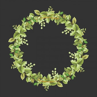 Decoratief cirkelkader met bloemen en bladerenornament