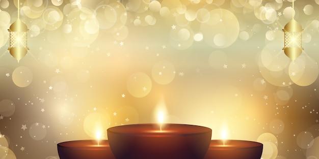 Decoratief diwali-festival van het ontwerp van de lichtenbanner