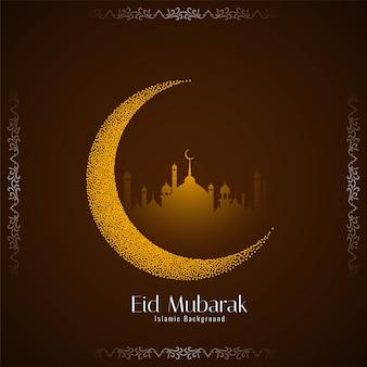 Decoratief eid mubarak-festival met gestippelde maan