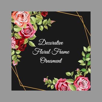 Decoratief frame met bloemen en bladeren ornament