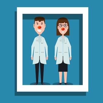 Decoratief frame met gelukkige artsen met rode neuzen