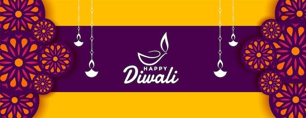 Decoratief gelukkig diwali-festivalbanner wenst ontwerp