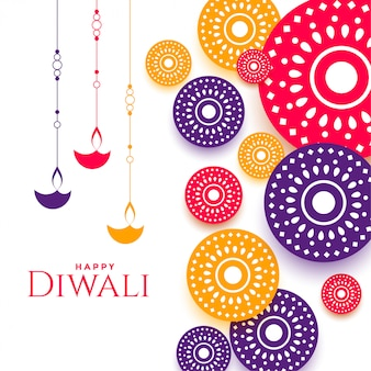 Decoratief gelukkig kleurrijk diwalifestival