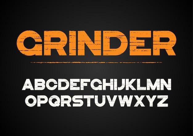 Decoratief geweven gewaagd lettertype met grungeeffect. vector alfabet