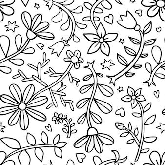 Decoratief grafisch krullend bloemen naadloos patroon, zwart-wit eindeloos patroon