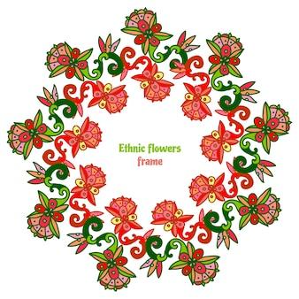Decoratief hand getrokken vector bloemenkader. etnische en tropische kleuren