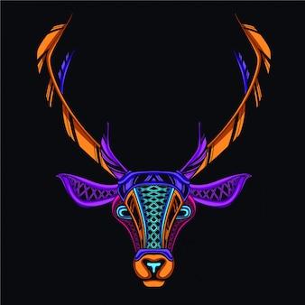 Decoratief hert hoofd in gloed neonkleur