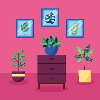 Decoratief huisplanten interieurontwerp