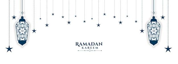 Decoratief islamitisch ramadan kareem wit bannerontwerp