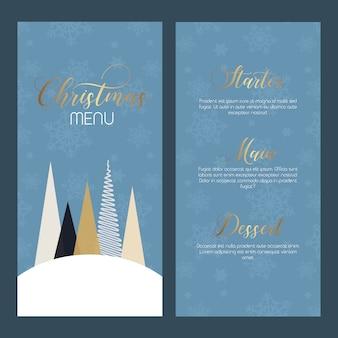 Decoratief kerstmenu - dubbelzijdig