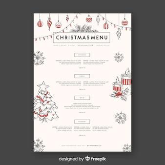 Decoratief kerstmenu ontwerp