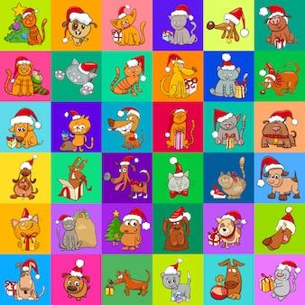 Decoratief kerstmispatroon cartoonontwerp