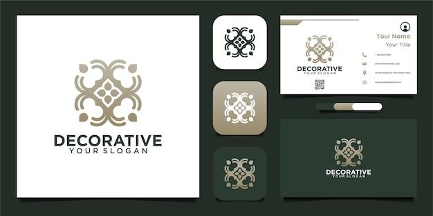 Decoratief logo-ontwerp met bloemen en visitekaartje