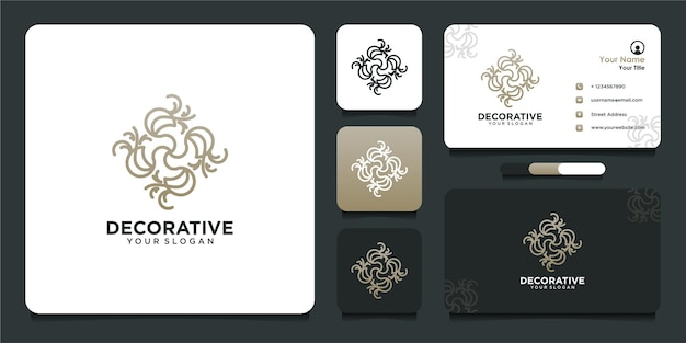 Decoratief logo-ontwerp met lijnstijl en visitekaartje