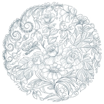 Decoratief mandala circulaire bloemdessin
