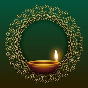 Decoratief mandala-frame met realistisch diya-ontwerp