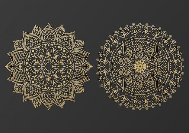 Decoratief mandala-ontwerp van het embleempictogram in gouden kleur