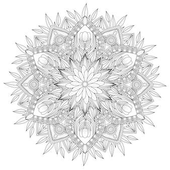 Decoratief mandala-ornament met omtrek bloemenontwerp