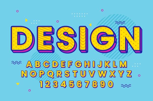 Decoratief memphis lettertype en alfabet