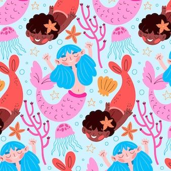 Decoratief mooi meerminnenpatroon