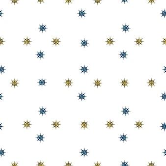 Decoratief naadloos marien patroon met de silhouetten van het kleine schipwiel in geometrische stijl. witte achtergrond.
