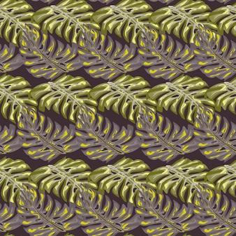 Decoratief naadloos patroon met het abstracte ornament van monsterasilhouetten. bleke pasteltinten. platte vectorprint voor textiel, stof, cadeaupapier, behang. eindeloze illustratie.