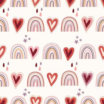 Decoratief naadloos patroon met raibows en harten