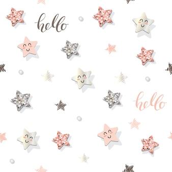 Decoratief naadloos patroon met sterren en glitter confetti.
