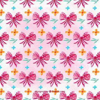 Decoratief patroon met roze linten en bloemen