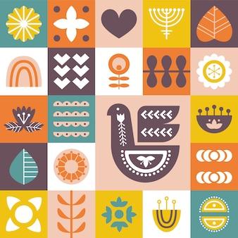 Decoratief patroon met vogels en bloemenelementen.