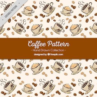 Decoratief patroon van de hand getekende koffiemokken