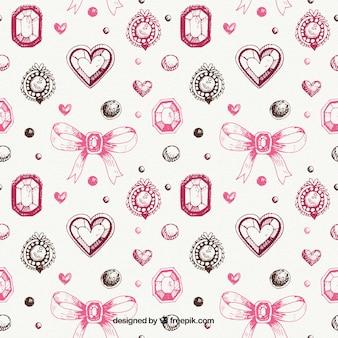 Decoratief patroon van hand getrokken sieraden met bogen en harten