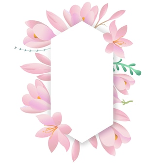 Decoratief rond frame met paarse krokussen. bloemenkaart, vierkant kader.