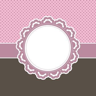 Decoratief roze bloemenetiket