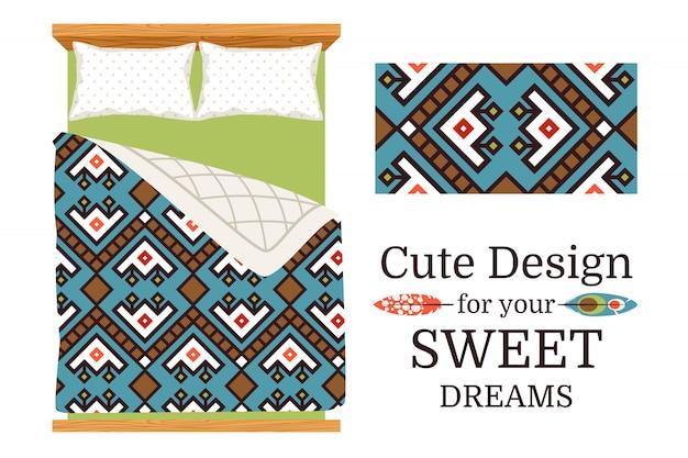 Decoratief sierpatroonsteekproef en het voorbeeld van gebruik als bedbladen.