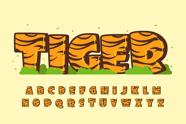 Decoratief tijger lettertype en alfabet