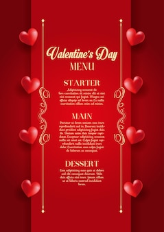 Decoratief valentijnsdag menu ontwerp
