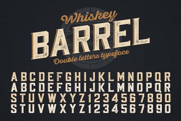 Decoratief vector vintage lettertype, dubbele letters. kleurstaal
