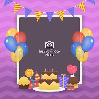 Decoratief verjaardagsframe met kleurrijke ballonnen, verjaardagstaarten en geschenkdoos