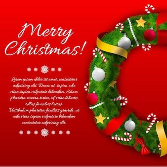 Decoratief vieren sjabloon met groene krans tekst linten buigt kerstballen en snoepjes op rood