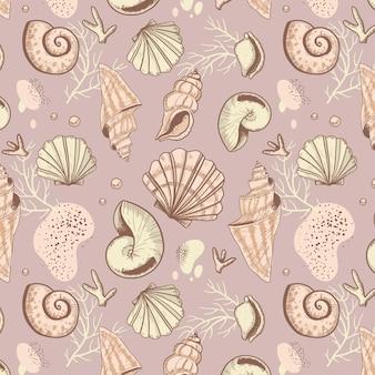 Decoratief vintage zeeschelppatroon