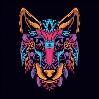 Decoratief wolfsgezicht van neonkleur