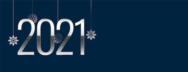 Decoratief zilver en blauw nieuwjaar 2021