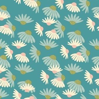 Decoratief zomer naadloos patroon met willekeurige madeliefjebloemenvormen