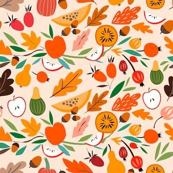 Decoratieve abstracte herfst naadloze patroon seizoensgebonden uitgesneden elementen