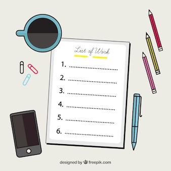 Decoratieve achtergrond met checklist en kantoorbenodigdheden