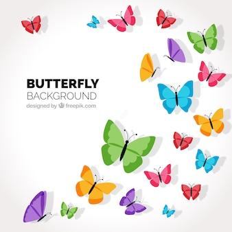Decoratieve achtergrond met gekleurde vlinders vliegen