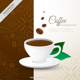 Decoratieve achtergrond van koffiekopje