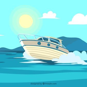 Decoratieve achtergrond van motorlancering in de zee
