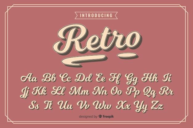 Decoratieve alfabet sjabloon retro stijl